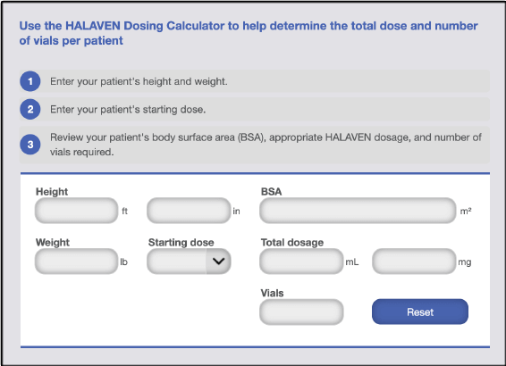 HALAVEN dosing calculator